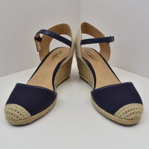 Lucky Brand Women Navy Ivory Wedge with Strap